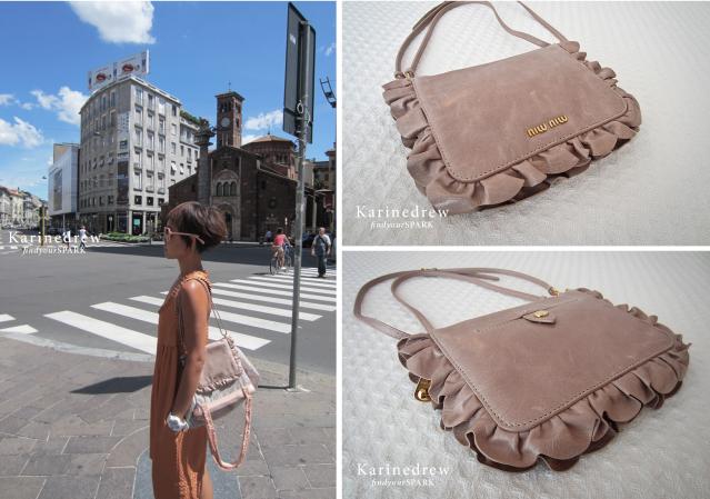 Miu Miu, Leather Nylon, Nude-Pink, Frills Shopping Bag